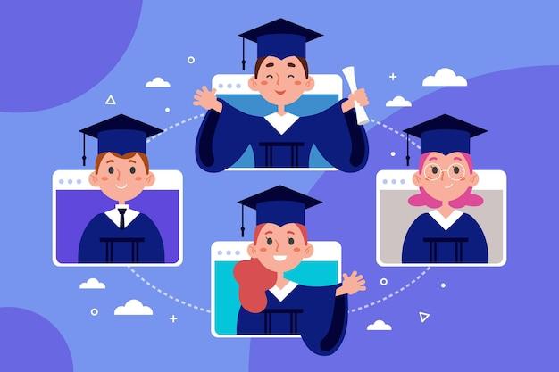 Ilustração de cerimônia de graduação virtual com alunos Vetor Premium