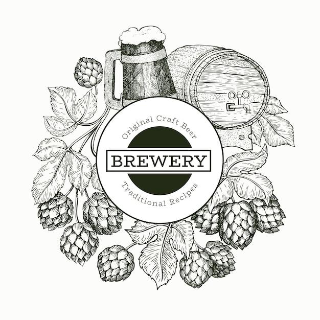 Ilustração de cerveja e lúpulo Vetor Premium