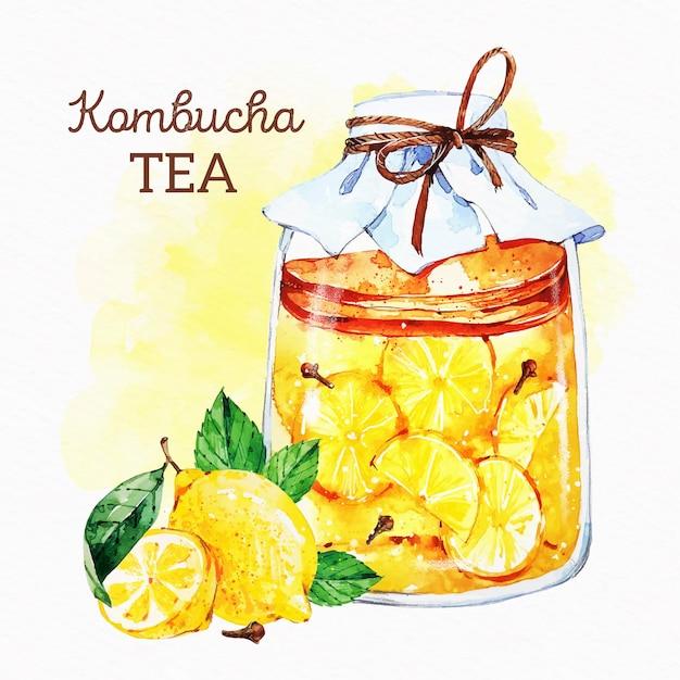 Ilustração de chá de kombuchá em aquarela com limões Vetor grátis