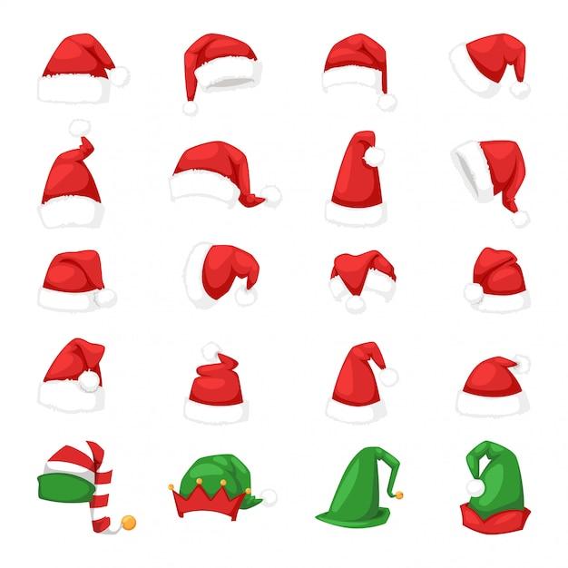 Ilustração de chapéu de natal papai noel. Vetor Premium