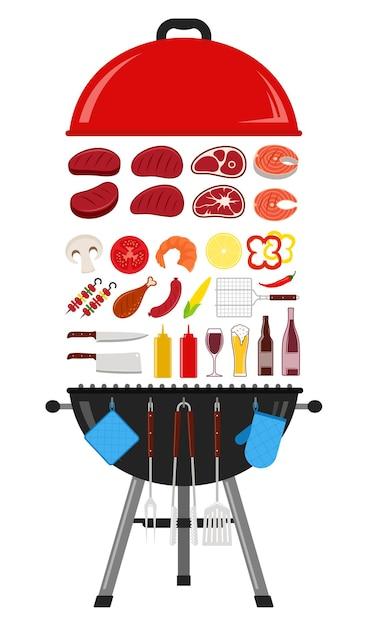 Ilustração de churrasco. ícones de churrasco, carne, vegetais, frutos do mar, bebidas e equipamentos de grelha Vetor Premium