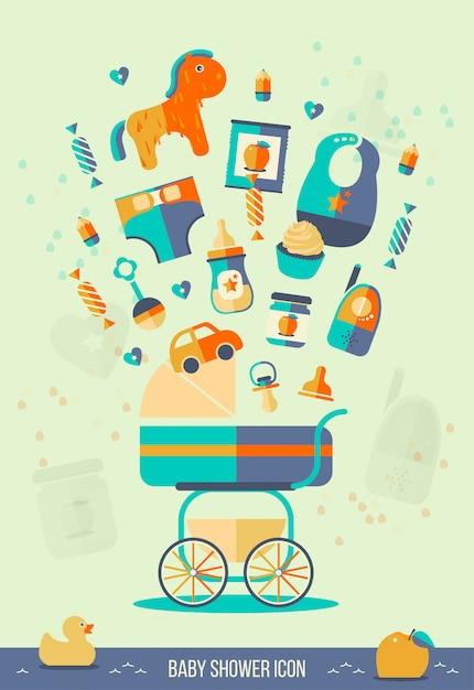 Ilustração de chuveiro de bebê de vetor. Vetor Premium