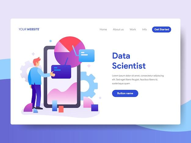 Ilustração de cientista de dados para a página inicial Vetor Premium