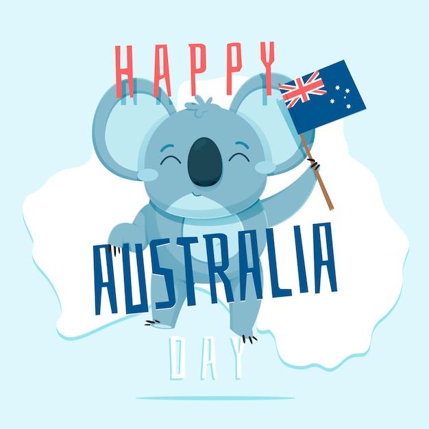 Ilustração de coala do dia da austrália plana Vetor grátis