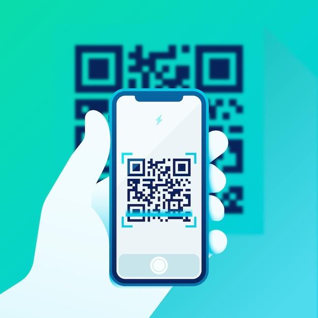 Ilustração de código qr de digitalização para smartphone Vetor Premium