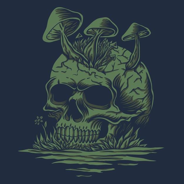Ilustração de cogumelos de caveira em rio Vetor Premium