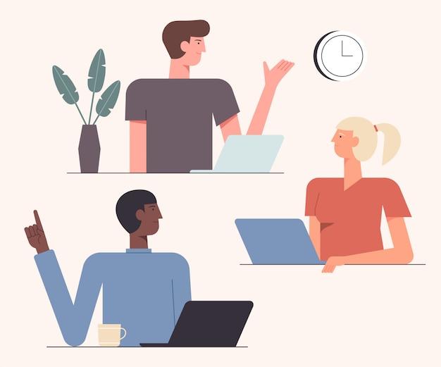Ilustração de colaboração de trabalho em equipe amigável. tempo de cooperação. equipe de colegas de trabalho criativo novo projeto juntos design de estilo simples. conceito teambuilding Vetor Premium