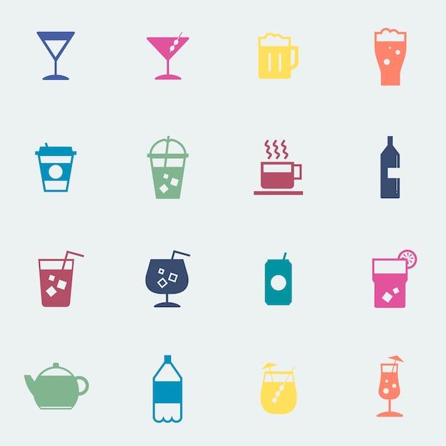 Ilustração de coleção de ícones de bebidas refrescantes Vetor grátis