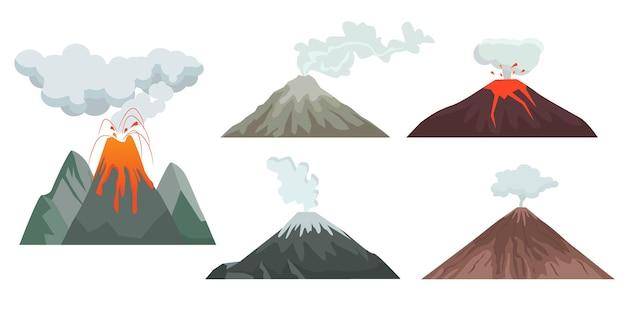 Ilustração de colinas e rochas de vulcão Vetor Premium