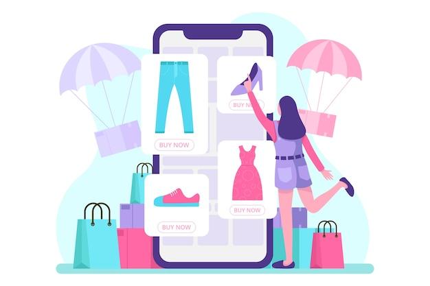 Ilustração de comércio eletrônico móvel. . Vetor Premium