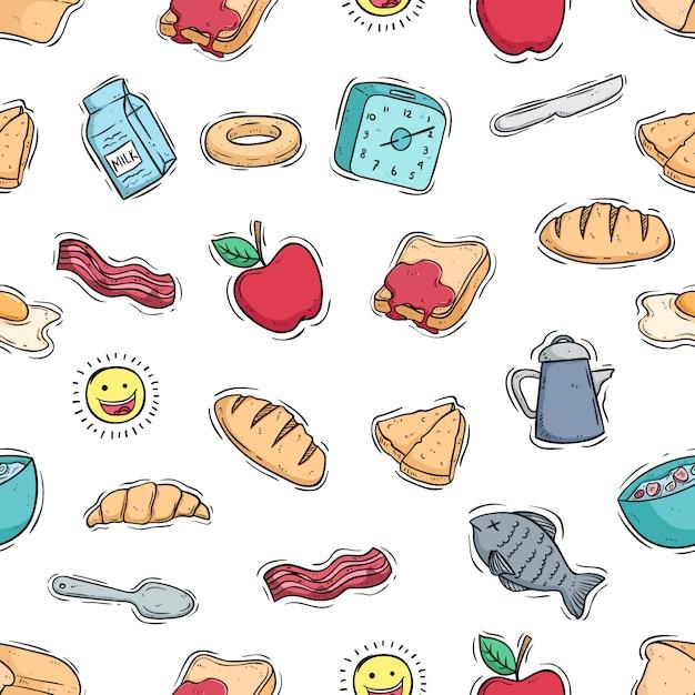 Ilustração de comida de café da manhã no padrão sem emenda com estilo doodle colorido Vetor Premium