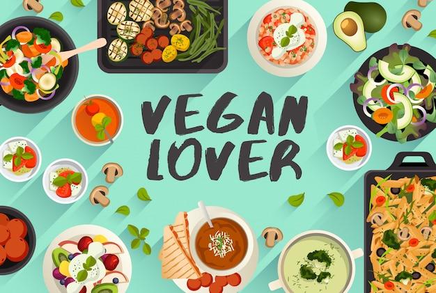 Ilustração de comida de comida vegana em ilustração vetorial de vista superior Vetor Premium