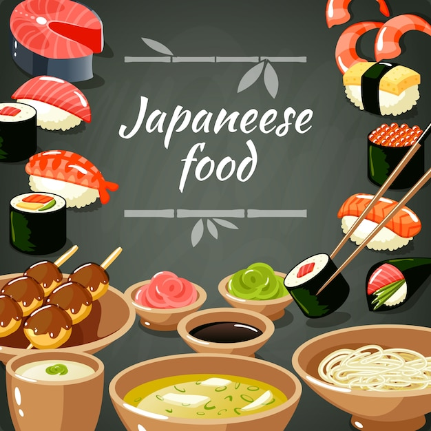 Ilustração de comida de sushi Vetor grátis