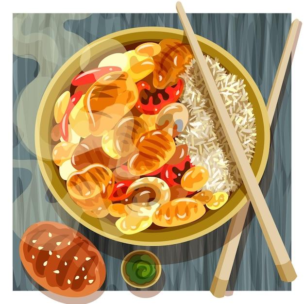 Ilustração de comida reconfortante com arroz e chicker Vetor grátis