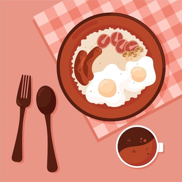 Ilustração de comida reconfortante com café da manhã inglês Vetor grátis