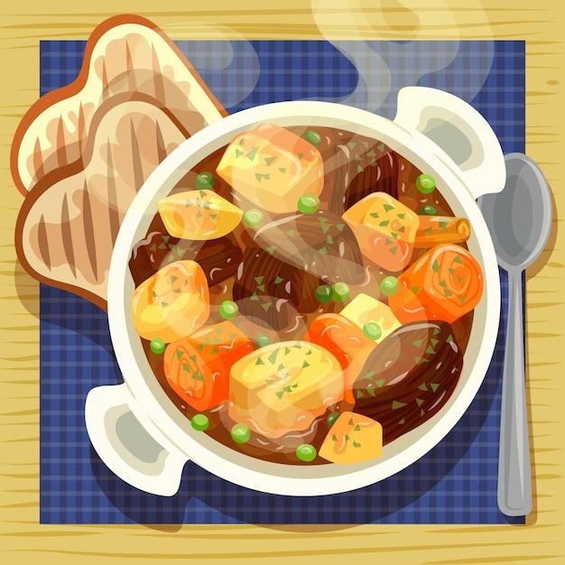 Ilustração de comida reconfortante com carne e legumes Vetor grátis