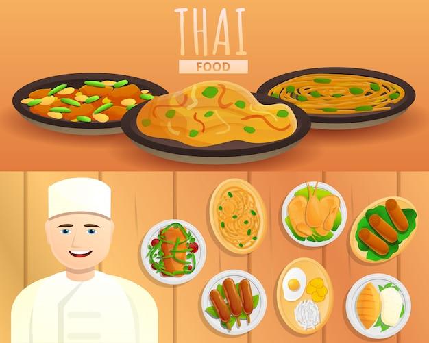 Ilustração de comida tailandesa definida no estilo dos desenhos animados Vetor Premium