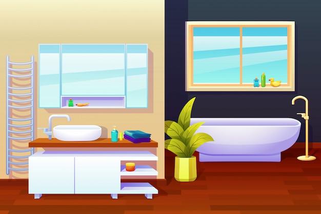 Ilustração de composição de design de interiores de banheiro Vetor grátis