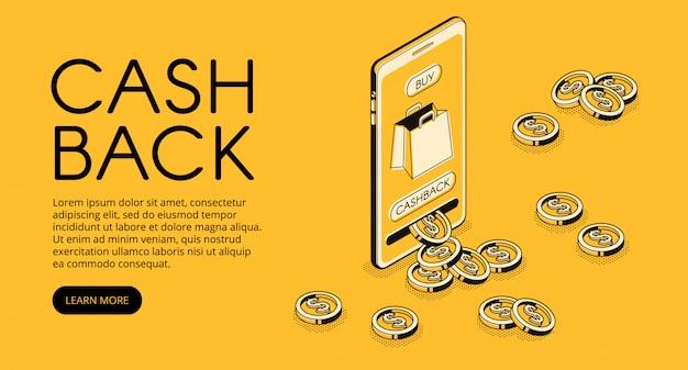 Ilustração de compras de cashback, recompensa de dinheiro em dinheiro de volta para compra de aplicativo de smartphone Vetor grátis