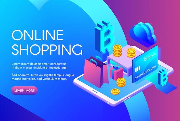 Ilustração de compras on-line de pagamento de bitcoin ou cartão de cryptocurrency Vetor grátis