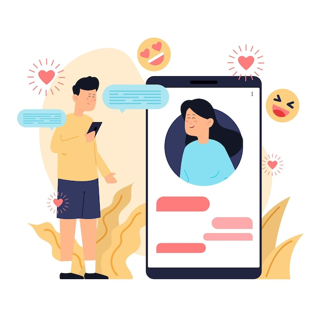 Ilustração de conceito de aplicativo de namoro com homem e mulher Vetor grátis