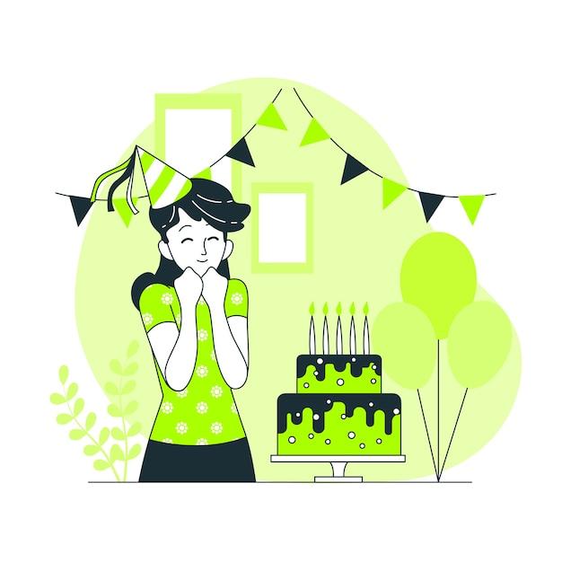 Ilustração de conceito de bolo de aniversário Vetor grátis
