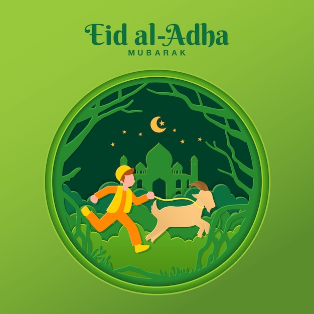 Ilustração de conceito de cartão eid al-adha em estilo de corte de papel com menino muçulmano trazer cabra para sacrifício Vetor Premium