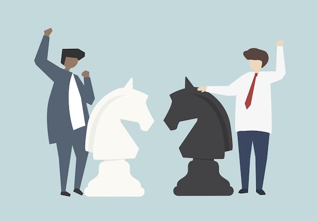 Ilustração de conceito de estratégia de sucesso empresarial empresários Vetor grátis