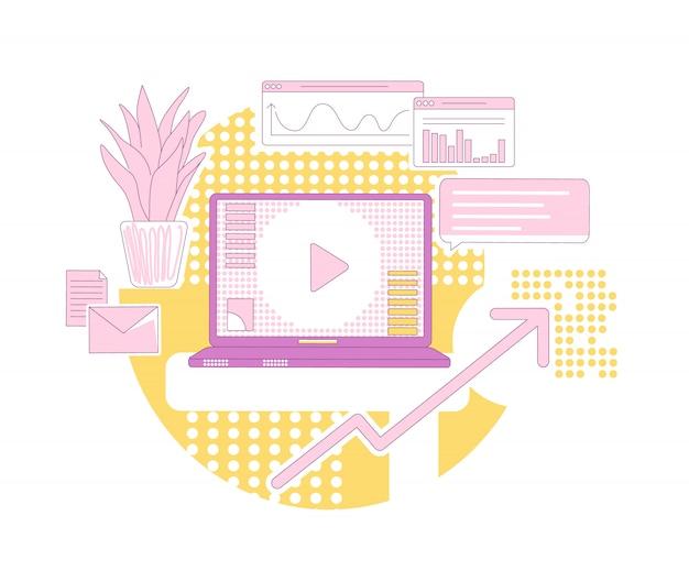 Ilustração de conceito de linha fina de marketing de conteúdo. composição de desenhos animados de negócios publicidade moderna para web. promoção online, desenvolvimento da base de clientes, ideia criativa de crescimento de vendas Vetor Premium