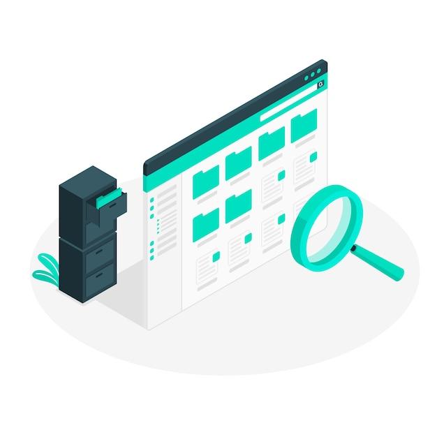 Ilustração de conceito de pesquisa de arquivo Vetor grátis