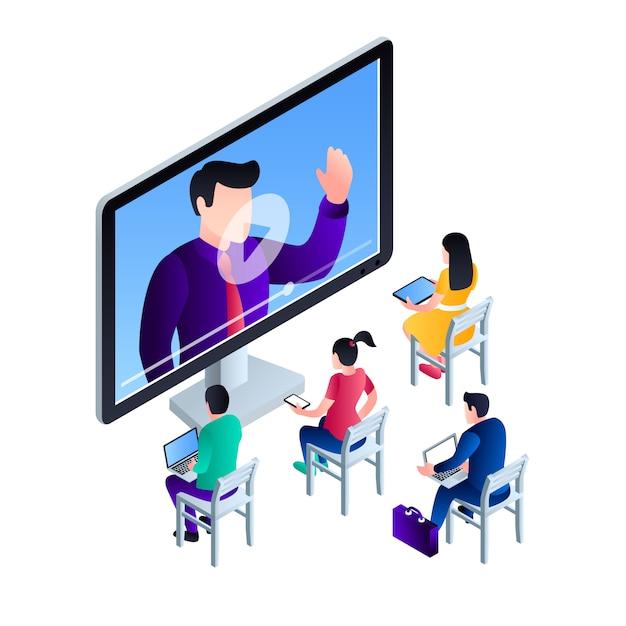 Ilustração de conceito de webinar de vídeo de computador, estilo isométrico Vetor Premium