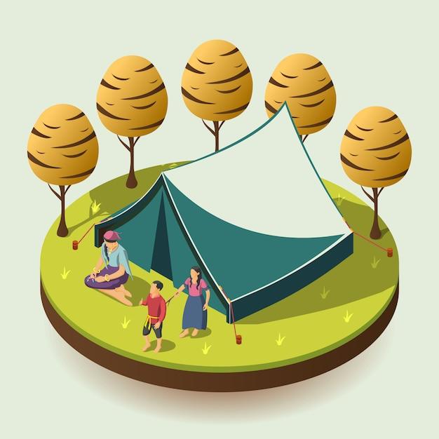 Ilustração de conceito isométrica de acampamento cigano Vetor grátis