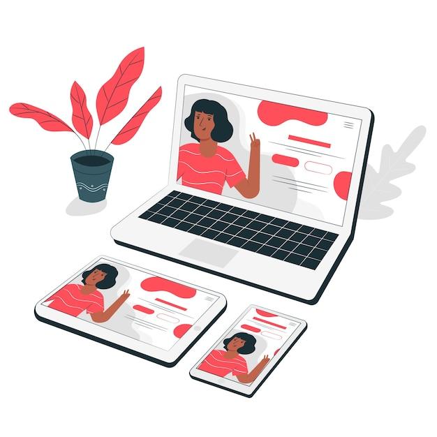Ilustração de conceito juntos de dispositivos web Vetor grátis