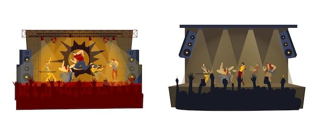 Ilustração de concerto de banda de rock, roqueiro dos desenhos animados, homem mulher música rockstar com microfone, cantor cantando no palco Vetor Premium