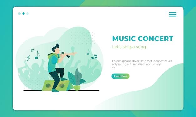 Ilustração de concerto de música no modelo de página de destino Vetor Premium