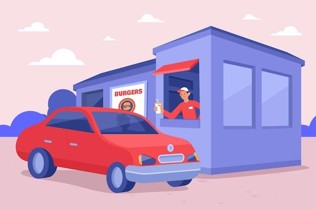 Ilustração de condução através da janela com veículo Vetor grátis