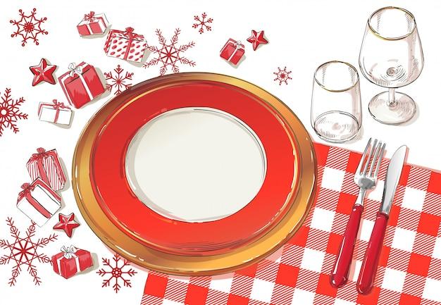 Ilustração de configuração de decoração de mesa de natal Vetor Premium