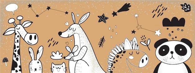 Ilustração de conjunto de animais dos desenhos animados Vetor Premium