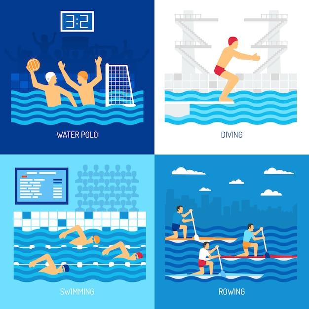 Ilustração de conjunto de cartão de esporte de água Vetor grátis