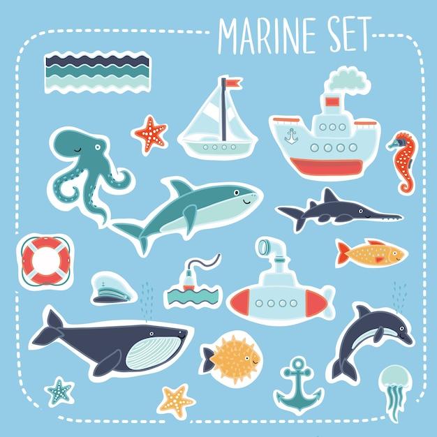 Ilustração de conjunto de cartões de casamento marinho Vetor Premium
