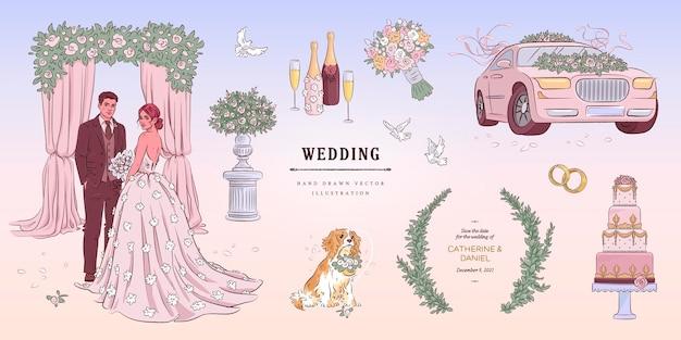 Ilustração de conjunto de casamento esboço desenhado à mão Vetor Premium