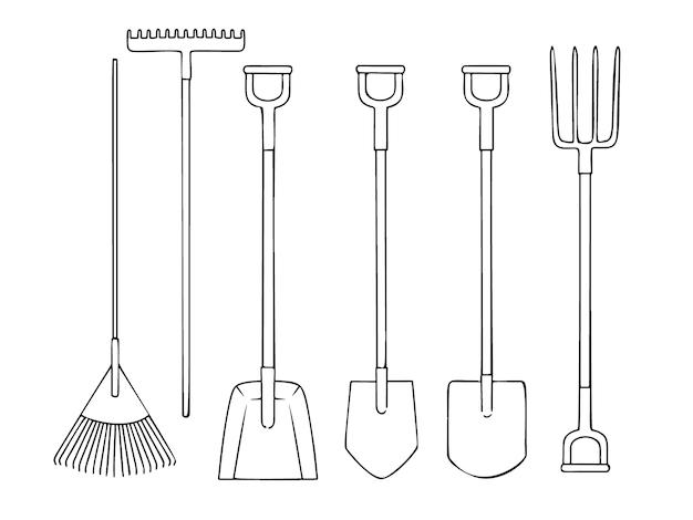Ilustração de conjunto de diferentes ferramentas de jardim Vetor Premium