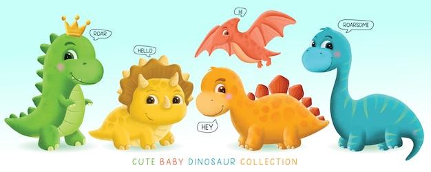 Ilustração de conjunto de dinossauro bebê fofo desenhado à mão Vetor Premium