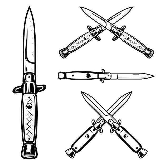 Ilustração de conjunto de facas Vetor Premium