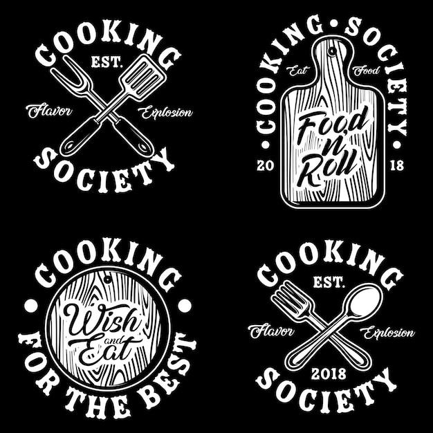 Ilustração de conjunto de vetor de logotipo de coisas de cozinha Vetor Premium