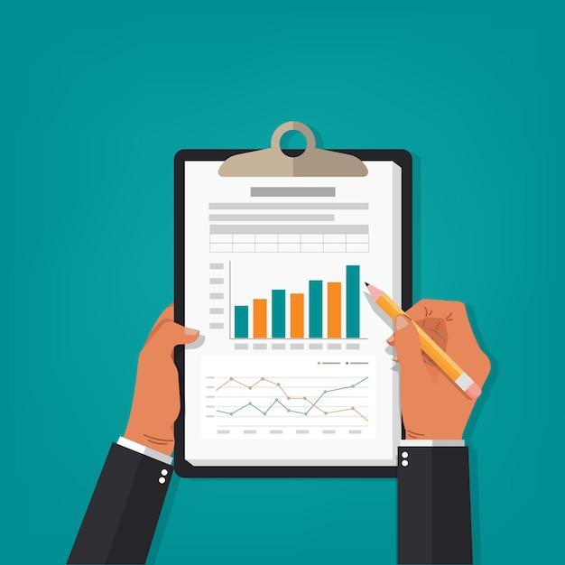 Ilustração de contabilidade de relatório profissional. Vetor Premium