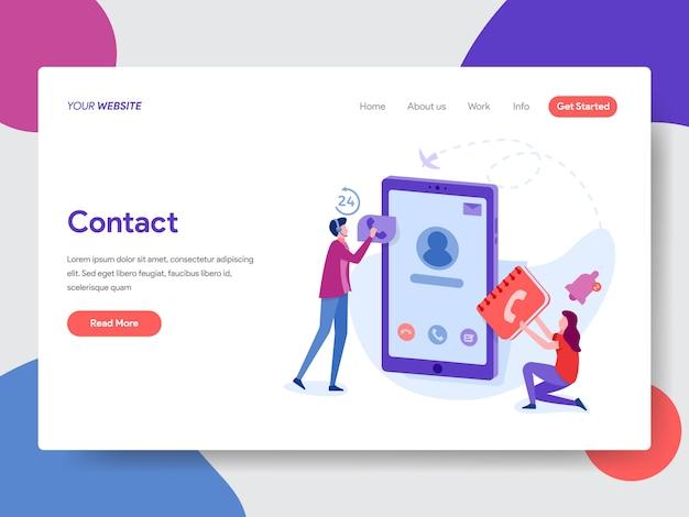 Ilustração de contatos telefônicos para a página inicial Vetor Premium
