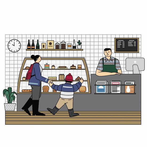 Ilustração de contorno de loja de padaria vector Vetor Premium