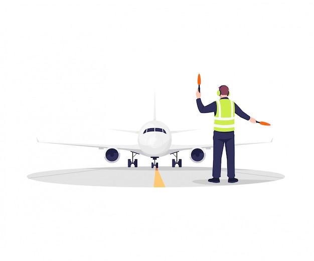 Ilustração de controlador de pista de avião Vetor Premium