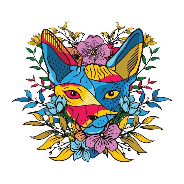 Ilustração de cor criativa de uma cabeça de gato com elemento floral Vetor Premium